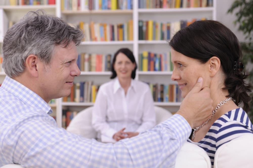 man and woman in couples counseling